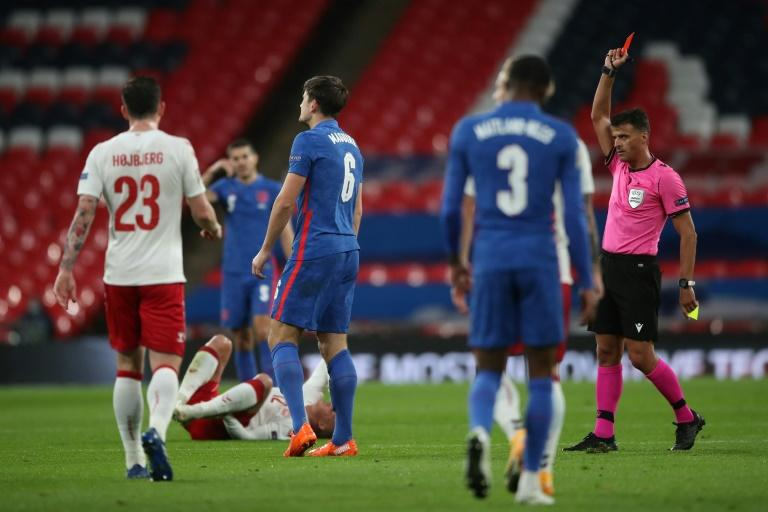 Harry Maguire was sent off in the first half as England lost 1-0 at home to Denmark in the Nations League