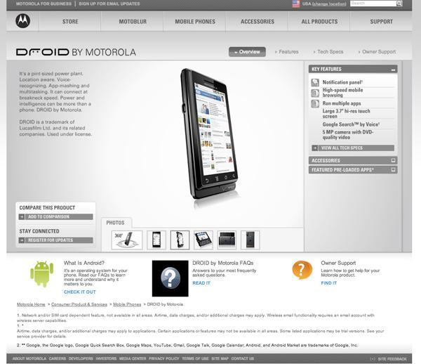 Motorola Droid's website published a bit early, with specs galore (update: video)