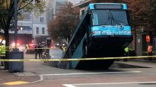Public transit bus in Pittsburgh falls into sinkhole