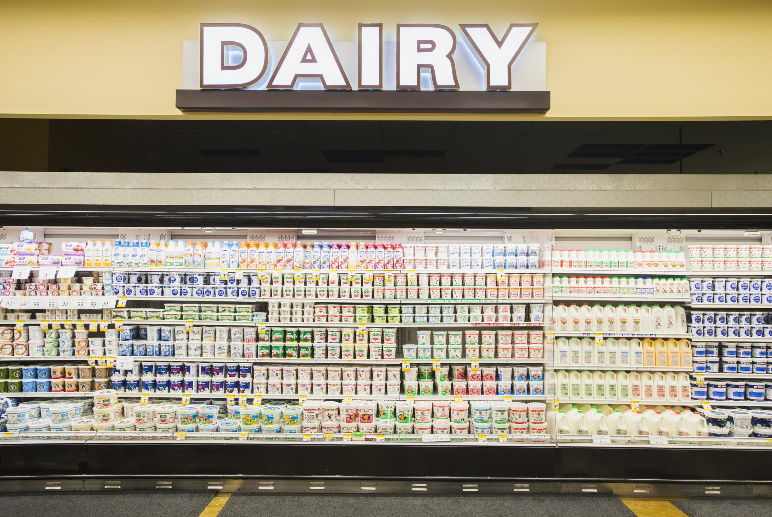 """<p><span style=""""color:rgb(0, 0, 0);font-family:helvetica, arial;"""">Supermarkets do their best to spread staples far apart to force shoppers to walk through the whole store and lead them into temptation (meat in the back right hand corner, dairy in the back left hand corner).</span><br style=""""color:rgb(0, 0, 0);font-family:helvetica, arial;""""/> <br style=""""color:rgb(0, 0, 0);font-family:helvetica, arial;""""/> <span style=""""color:rgb(0, 0, 0);font-family:helvetica, arial;"""">(Industry experts claim that this is for logistical reasons. Milk needs to be refrigerated straight away and the lorries unload at the back. That does not explain why other staples like eggs are at the back.)</span></p>  <p></p>"""