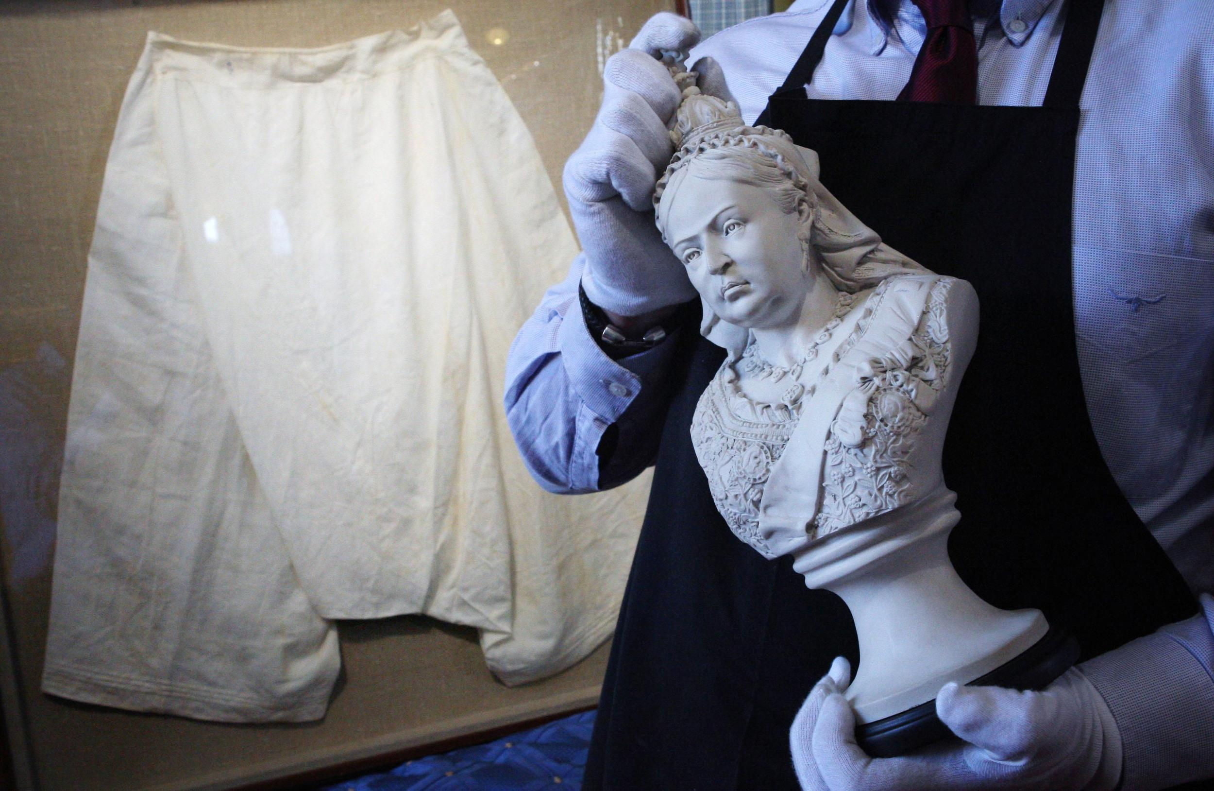 """<p>Queen Victoria's bloomers sold at auction for £6,200, along with a pair of her silk stockings.</p>  <p>They have a 52-inch waist, and belonged to the monarch in the 1890s - """"towards the end of her life when she had eaten a lot more than most people could afford to,"""" said auctioneer Michael Hogben. In today's sizing, they'd be a size 26.</p>"""