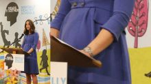 Kate Middleton finally shows off baby bump in fitted blue dress