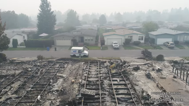 The drone's pilot, Douglas Thron, said the destruction changed his outlook on things, as he thought the neighborhood would have been safe and protected. (Douglas Thron)
