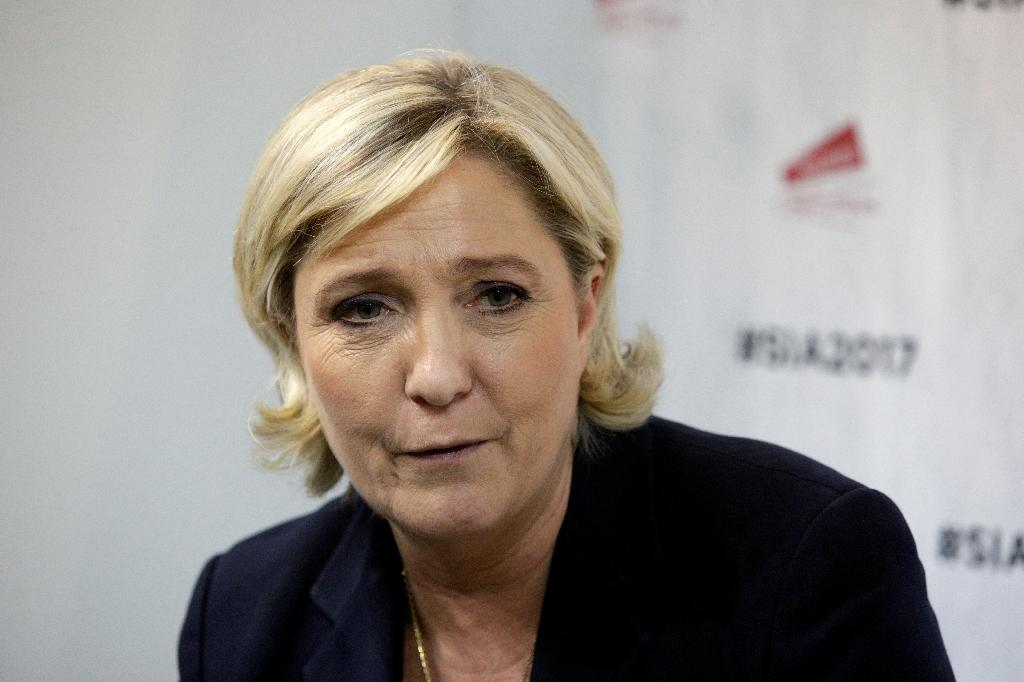 French far-right Front National (FN) party candidate for the presidential election Marine Le Pen, seen February 28, 2017, sent a graphic series of tweets, including a photo of the decapitated body of US reporter James Foley