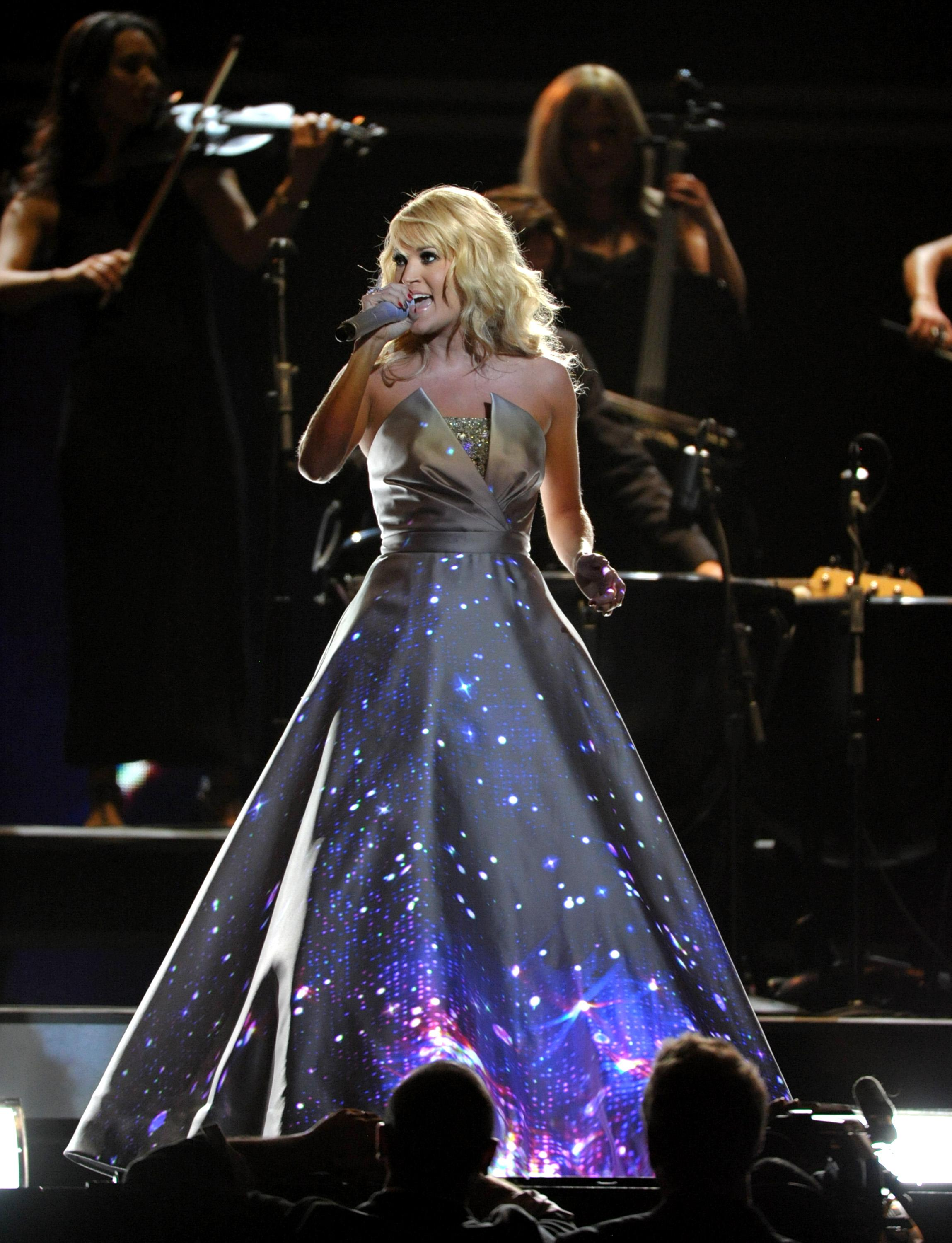 Carrie Underwood performs on stage at the 55th annual Grammy Awards on Sunday, Feb. 10, 2013, in Los Angeles. (Photo by John Shearer/Invision/AP)
