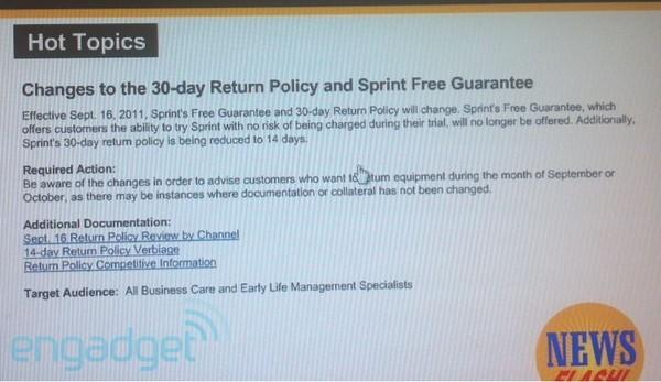 Sprint changing return policy tomorrow, nixing Premier program at year's end