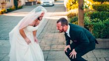 Hilarious moment best man trades places with the bride