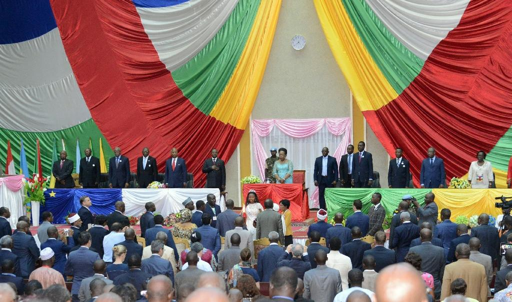 Catherine Samba Panza, President of the transitional government of the Central African Republic, stands at the transitional parliament in Bangui on May 11, 2015 during the closure ceremony of the forum for national reconciliation