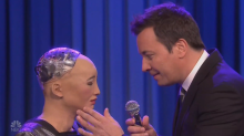 Jimmy Fallon sings disturbingly romantic duet with Sophia the Robot