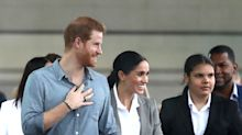 Meghan Markle Holds on Tight to Prince Harry as They Meet Students at Last Stop on Dubbo Trip