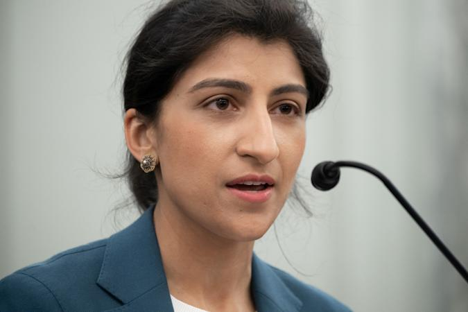 Lina Khan, nominee for Commissioner of the Federal Trade Commission (FTC), speaks during a Senate Committee on Commerce, Science, and Transportation confirmation hearing on Capitol Hill in Washington, DC, U.S. April 21, 2021.  Saul Loeb/Pool via REUTERS