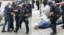 'Focus on the issues': Elderly man shoved by police issues defiant statement