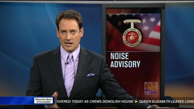 Loud noises during military exercises at Camp Pendleton Monday