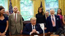 Trump welcomes Apollo 11 astronauts Aldrin, Collins to White House