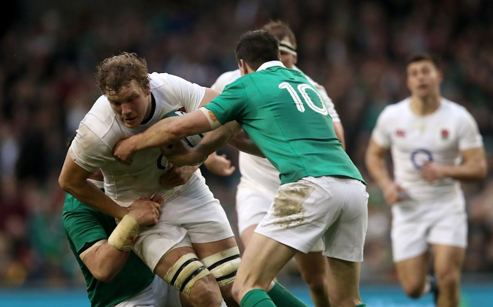 Joe Launchbury is stopped by the Irish defence - PA Wire
