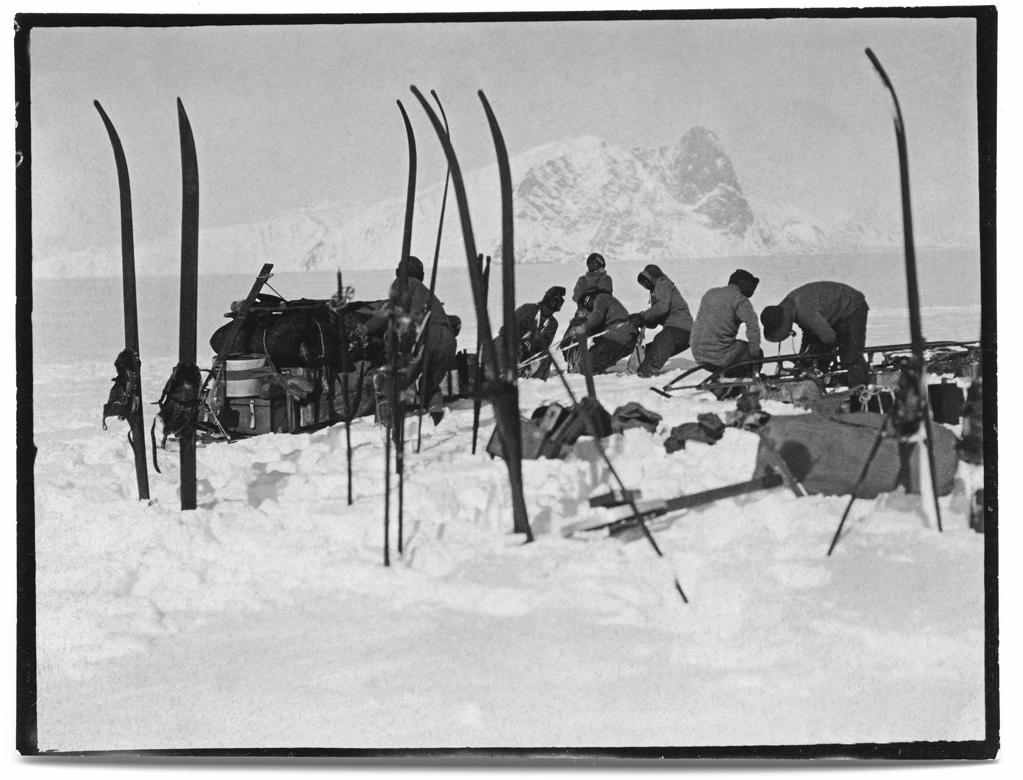 "Foundering in soft snow: Bowers' sledge team; Wilson pushing; Oates and PO Evans repairing, Beardmore Glacier, 13 December, 1911.<br><br>(Photo credit: ©2011 Richard Kossow)<br><br>For more information on ""The Lost Photographs of Captain Scott"" and where to buy the book, visit <a href=""http://www.hachettebookgroup.com/books_9780316178501.htm"" rel=""nofollow noopener"" target=""_blank"" data-ylk=""slk:hachettebookgroup.com"" class=""link rapid-noclick-resp"">hachettebookgroup.com</a>"