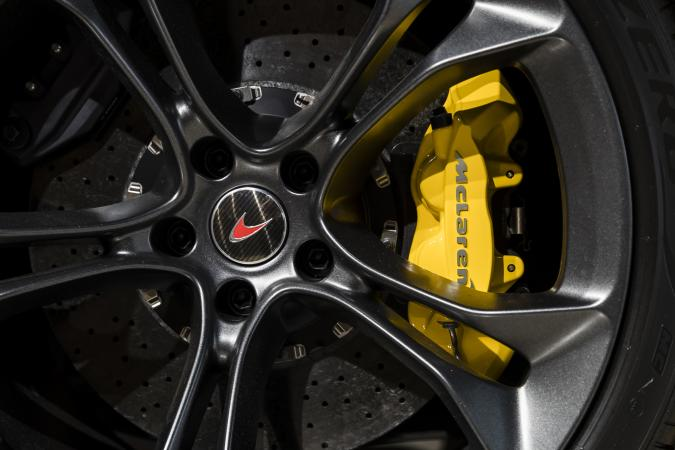 HONG KONG, HONG KONG - AUGUST 15: The McLaren logo sits on the wheel hub of McLaren 720s at their showroom on August 15 2018 in Hong Kong, Hong Kong. (Photo by Yu Chun Christopher Wong/S3studio/Getty Images)