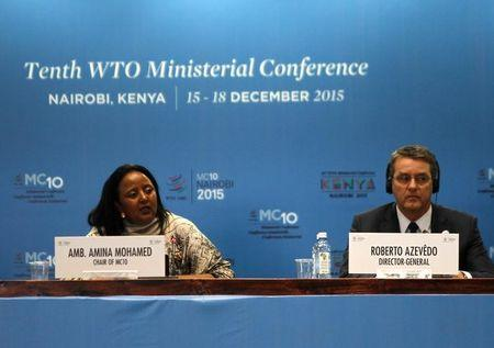 The Kenyan Foreign Affairs Cabinet Secretary Amina Mohamed and the Director General of the World Trade Organization Roberto Azevedo attend the opening of the World Trade Organization Summit in Nairobi