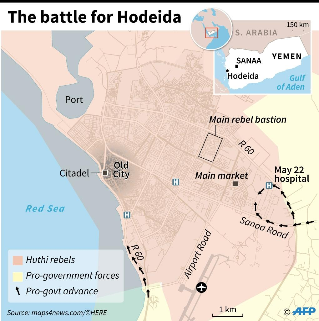 Map of Hodeida locating positions of fighting forces and major landmarks (AFP Photo/Laurence SAUBADU)