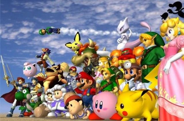 A screenshot of Super Smash Bros Melee characters.