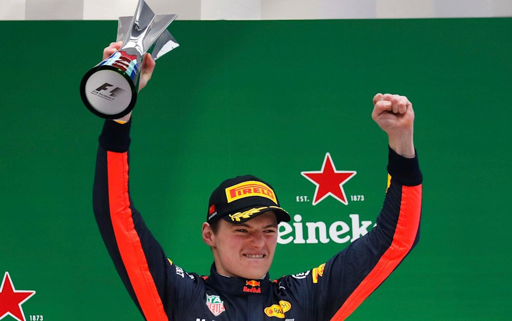 Verstappen celebrates after finishing third in Sunday's Chinese GP - AP