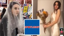 Coronavirus wedding: Bride dons $7 Spotlight buy to 'elope'