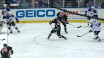 Vanek scores over the shoulder of Halak