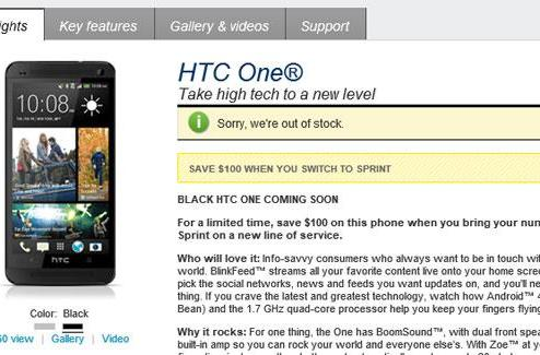 Black HTC One peeks out of AT&T and Sprint web stores, promises to be available soon