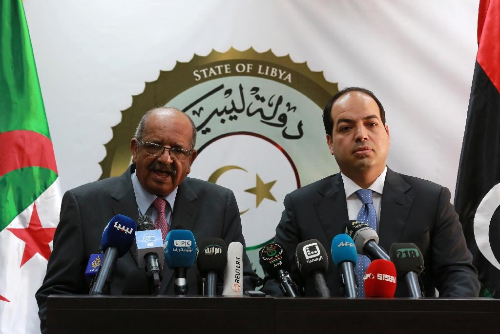 Algeria's Minister Delegate for Maghreb and African Affairs Abdelkader Messahel (L) gives a press conference with Libyan deputy prime minister of the Government of National Accord, Ahmed Maiteeq, in Tripoli, on April 20, 2016
