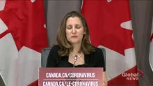 Coronavirus outbreak: Freeland says Canadian government will 'pull out all the stops' on medical equipment distribution