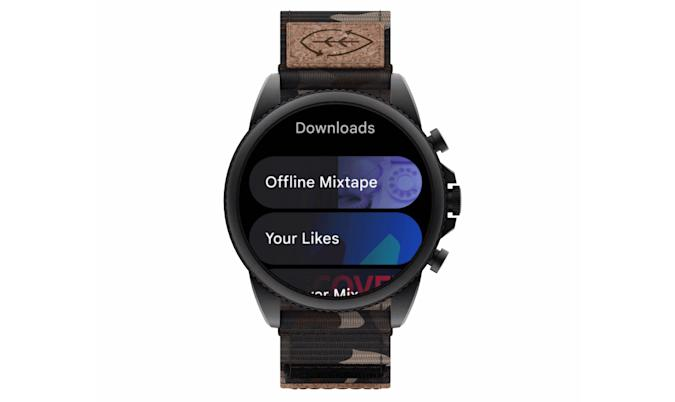YouTube Music app on Wear OS, showing playlists downloaded for offline listening.