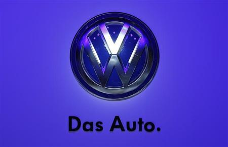 The logo of Volkswagen is pictured during a media preview day at the Frankfurt Motor Show