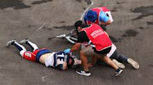 Olympic BMX medalists were reminded all too closely of the risk they ride with
