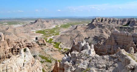 Badlands National Park in South Dakota is pictured in this July 16, 2014 handout photo. Badlands National Park/Handout via REUTERS