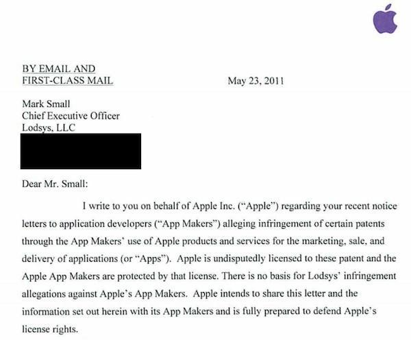 Apple responds to Lodsys infringement accusations, says developers are not responsible