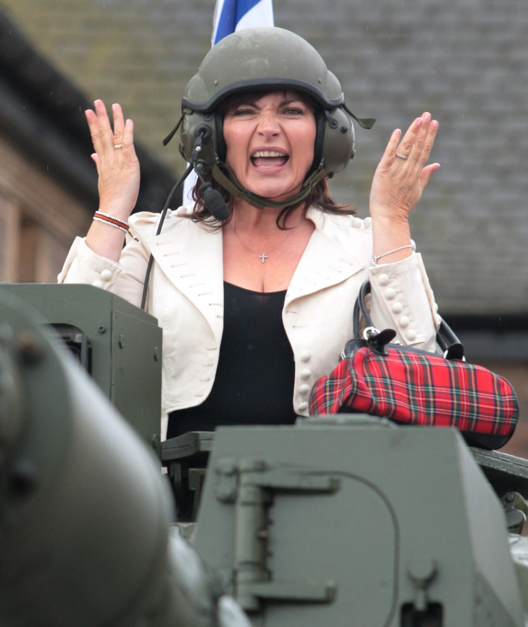 Lorraine Kelly, in a tank, launches Armed Forces Day at the Redford Barracks, Edinburgh.