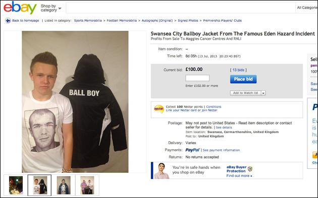 Swansea Ballboy Kicked By Eden Hazard Sells His Jacket On Ebay