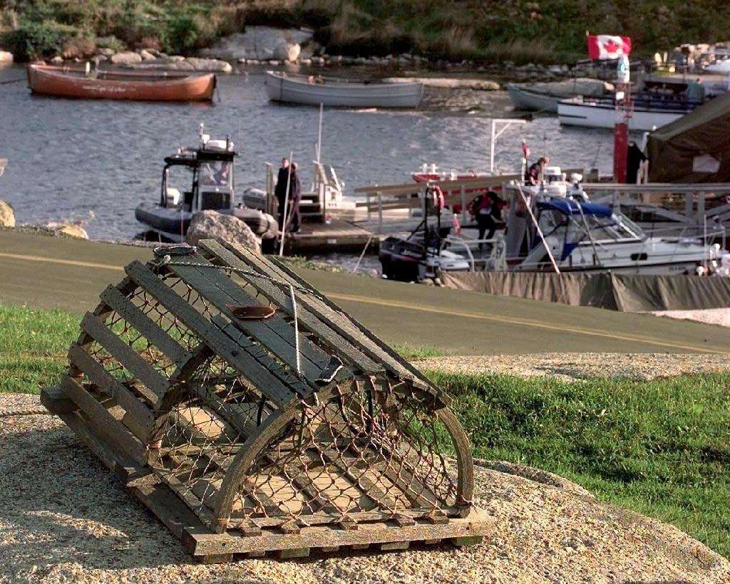 Lobster pots in a Nova Scotia fishing village