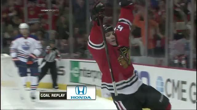 Andrew Shaw buries nice delivery from Saad