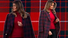 Melania Trump wore $1,600 plaid coat to greet Christmas tree