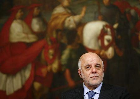 Iraqi Prime Minister Haider Al-Abadi looks on during a joint news conference with Italian Prime Minister Renzi at the end of a meeting at Chigi Palace in Rome