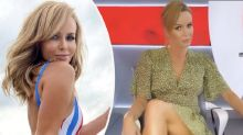 Amanda Holden, 49, risks wardrobe malfunction in leggy video