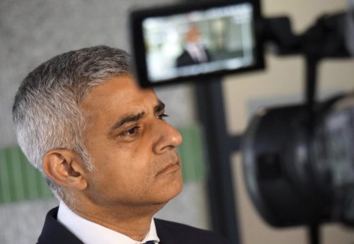 Sadiq Khan, the mayor of London, pauses as he speaks to reporters, June 6, 2017