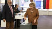 Merkel votes in key election