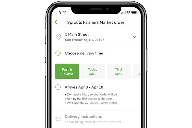 Instacart 'Fast & Flexible' delivery option