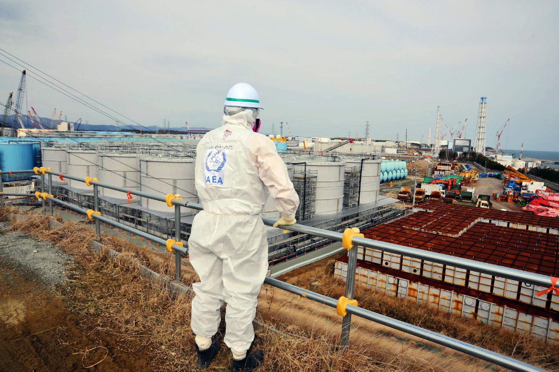 A member of the IAEA mission team inspects TEPCO's Fukushima Daiichi Nuclear Power Station in Okuma, Fukushima prefecture on February 17, 2015