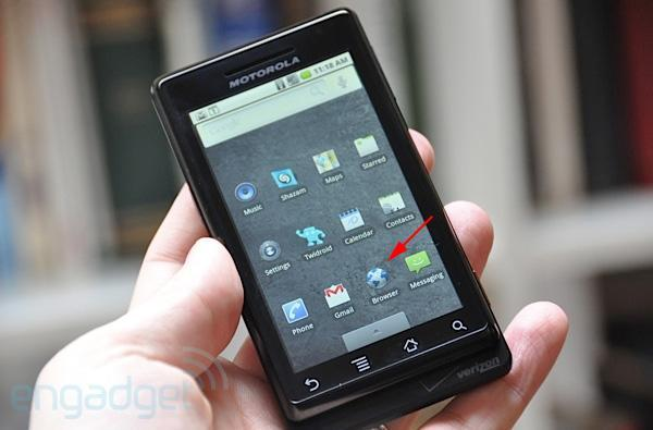 Milestone multitouch browser ported to the Droid by a user-made patch (video)