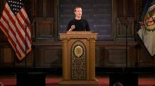 Mark Zuckerberg faz discurso em universidade e defende a liberdade de expressão