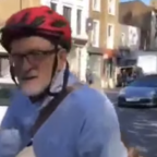 Jeremy Corbyn Arrives at London Climate Protest on Bicycle
