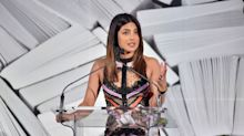 Priyanka Chopra Wore Seriously Sheer Stripes For 'Wedding Reception 100047' With Husband Nick Jonas